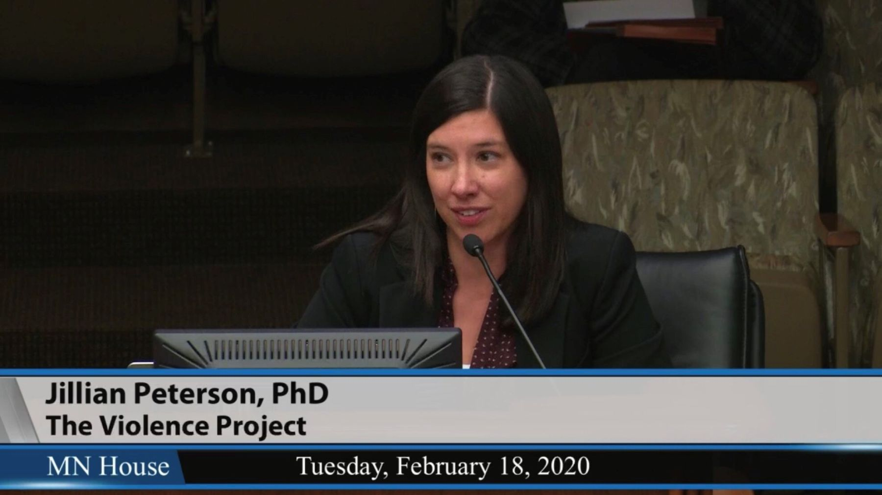 Dr. Jillian Peterson testifying before the MN House of Representatives